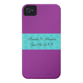 Purple turquoise roses wedding favors iPhone 4 case