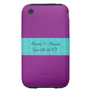 Purple turquoise roses wedding favors tough iPhone 3 cases