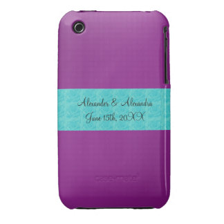 Purple turquoise roses wedding favors iPhone 3 Case-Mate case