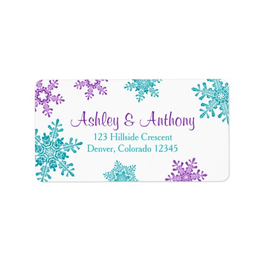 Purple Turquoise Snowflake Wedding Return Address Label