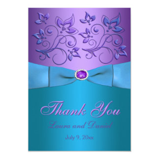 Purple, Turquoise Thank You Card - Invite Style