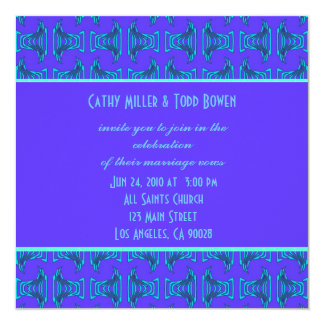Purple Turquoise Tiki Wedding 13 Cm X 13 Cm Square Invitation Card