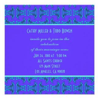 Purple Turquoise Tiki Wedding Invite