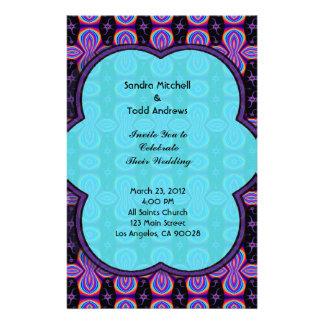 Purple Turquoise Wedding Stationery Design