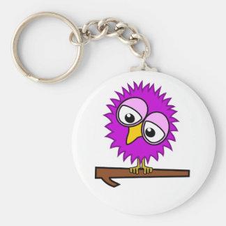 Purple Tweet Basic Round Button Key Ring