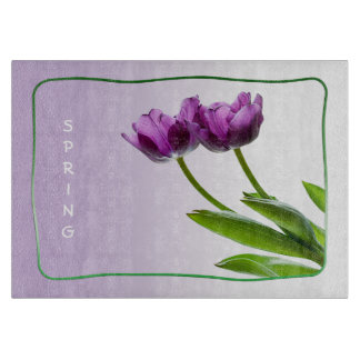 Purple Twin Tulips Spring Floral Isolated Photo Cutting Boards