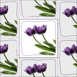 Purple Twin Tulips Spring Floral Isolated Photo Fabric