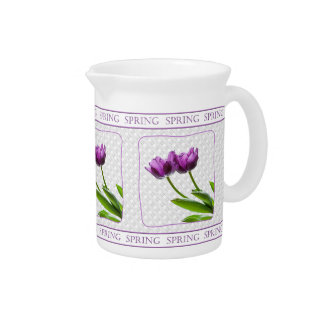 Purple Twin Tulips Spring Floral Isolated Photo Pitchers