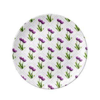 Purple Twin Tulips Spring Floral Isolated Photo Porcelain Plate