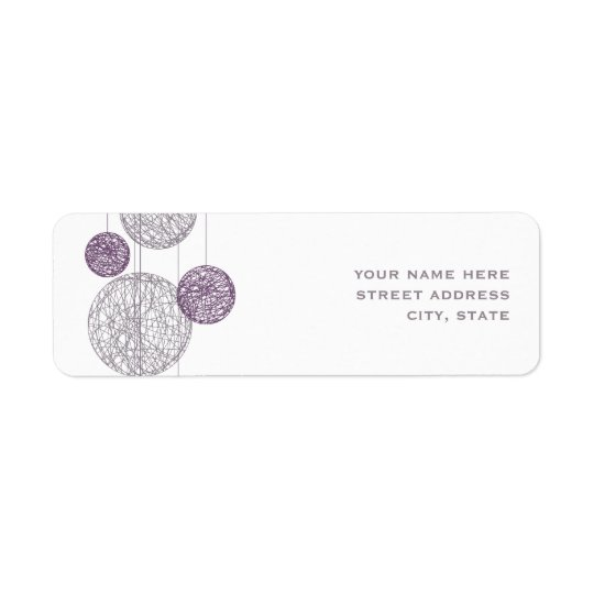 Purple Twine Globes Address Label