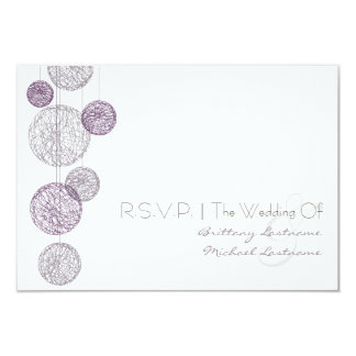 Purple Twine Globes Wedding R.S.V.P. Personalized Invites
