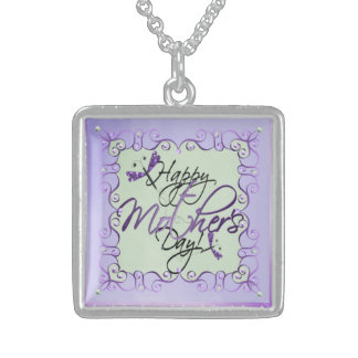 Purple Twirls MOTHERS DAY Silver Necklace