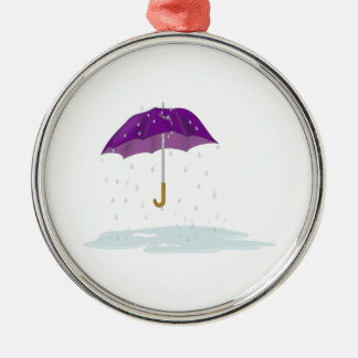 Purple Umbrella in the Rain Christmas Ornament