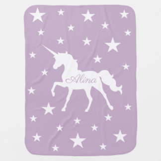 Purple Unicorn And Stars Baby Blanket
