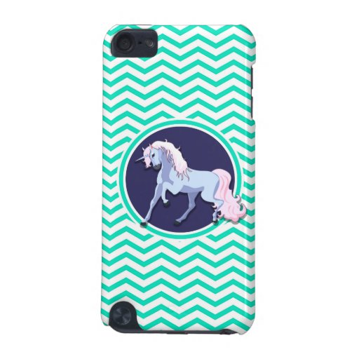 Purple Unicorn; Aqua Green Chevron iPod Touch 5G Cases