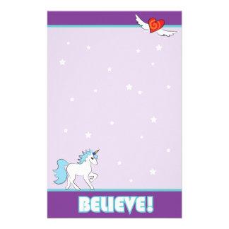 "Purple Unicorn ""BELIEVE!"" Customised Stationery"