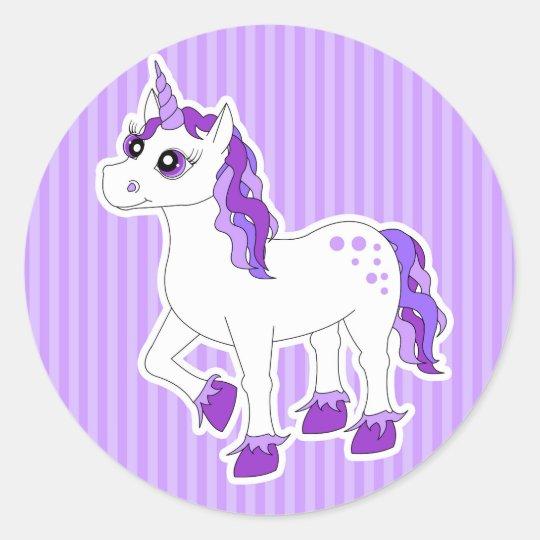 Purple Unicorn Cartoon Classic Round Sticker