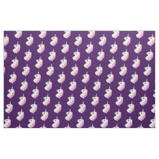 Purple Unicorn Emoji Pattern Fabric