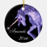 Purple Unicorn Fantasy Round Ceramic Decoration
