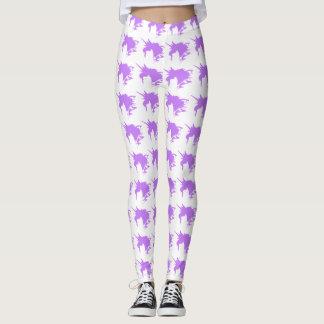 Purple Unicorn Fantasy Silhouette Pattern Leggings