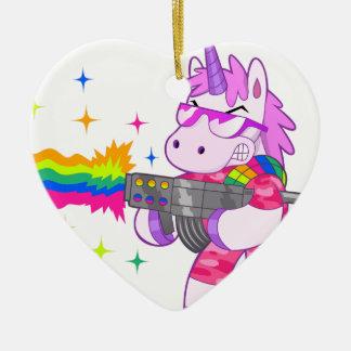 Purple Unicorn - Gun Ceramic Heart Decoration