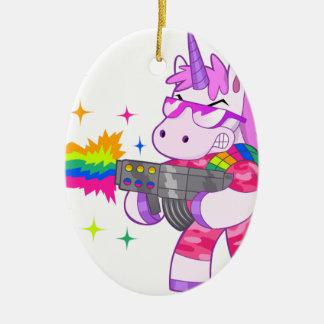 Purple Unicorn - Gun Ceramic Oval Decoration