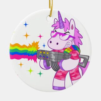 Purple Unicorn - Gun Christmas Ornament