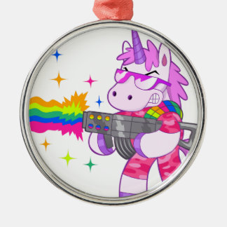 Purple Unicorn - Gun Silver-Colored Round Decoration