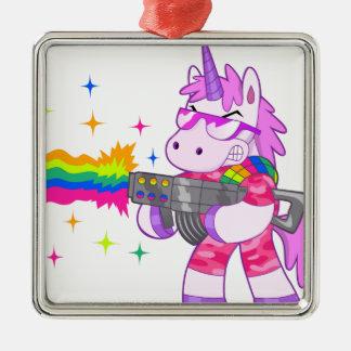 Purple Unicorn - Gun Silver-Colored Square Decoration