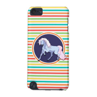 Purple Unicorn on Bright Rainbow Stripes iPod Touch (5th Generation) Case