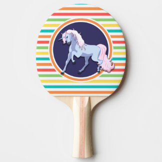 Purple Unicorn on Bright Rainbow Stripes Ping Pong Paddle
