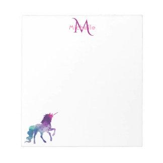 Purple unicorn on white monogrammed notepad