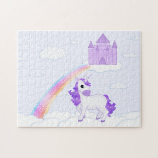 Purple Unicorn with Castle in the Clouds Cartoon Jigsaw Puzzle