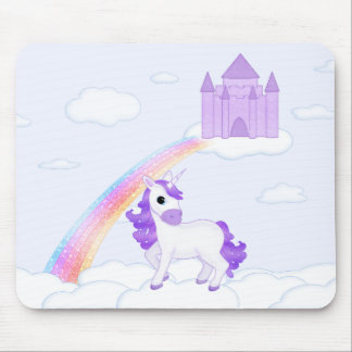 Purple Unicorn with Castle in the Clouds Cartoon Mouse Mat
