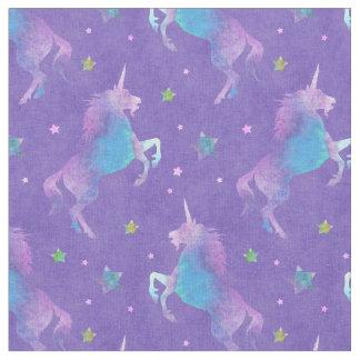 Purple Unicorns Pink Stars Fabric