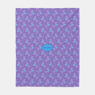 Purple Unicorns Pink Stars Fleece Blanket