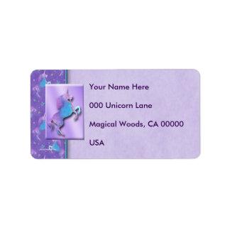 Purple Unicorns Pink Stars Label