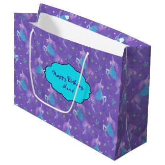 Purple Unicorns Pink Stars Large Gift Bag