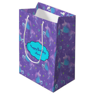 Purple Unicorns Pink Stars Medium Gift Bag