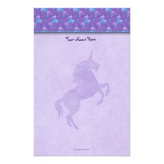Purple Unicorns Pink Stars Silhouette Stationery