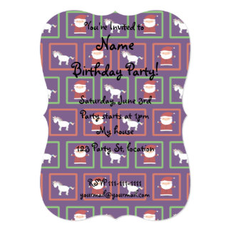"Purple unicorns santa claus pattern 5"" x 7"" invitation card"