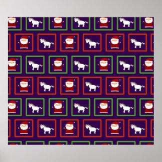 Purple unicorns santa claus pattern print