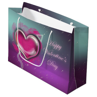 Purple Valentine's Day Gift Bag-Large, Glossy Large Gift Bag
