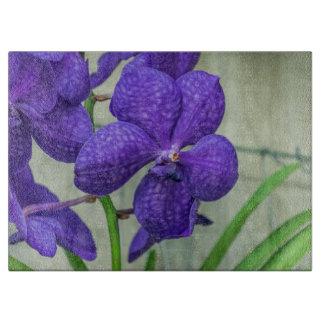 Purple vanda orchids glass cutting board