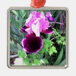 Purple Velvet Iris Christmas Ornament