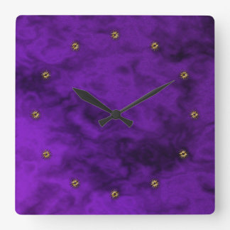 purple velvet square wall clock