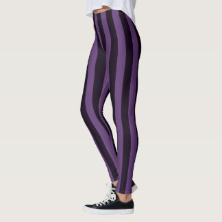 Purple Vertical Stripes Decor on Leggings