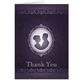 Purple Victorian Gothic Cameo Wedding Thank You Cards