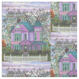 Purple Victorian House Picket Fence Landscape Fabric