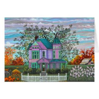 Purple Victorian House Pumpkins Wagon Fall Trees Greeting Card